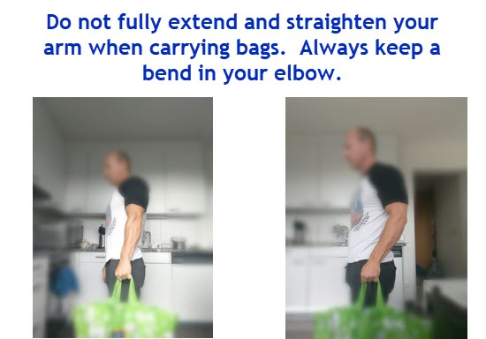 elbows bent bag carrying